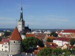 Rooftops of Tallinn against a blue sky
